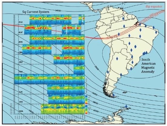 Rede de magnetômetros pesquisará clima espacial sobre América do Sul