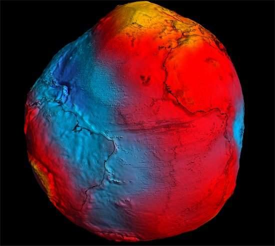 Novo mapa da Terra, gravitacionalmente falando