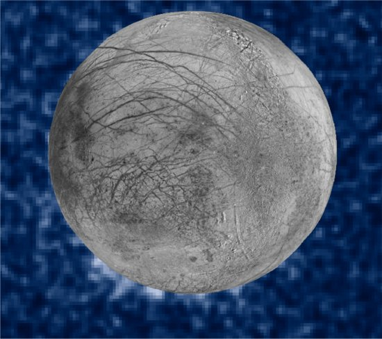Hubble detecta possíveis erupções de água em Europa