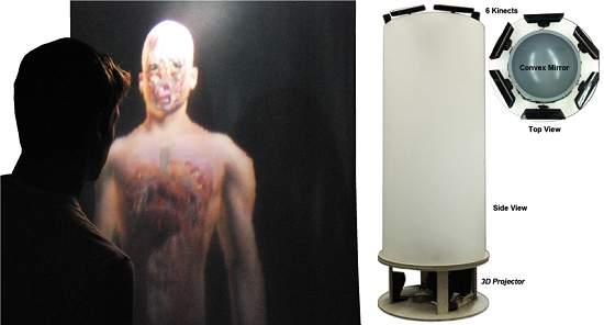 TeleHumano: projeção 3D quase holográfica