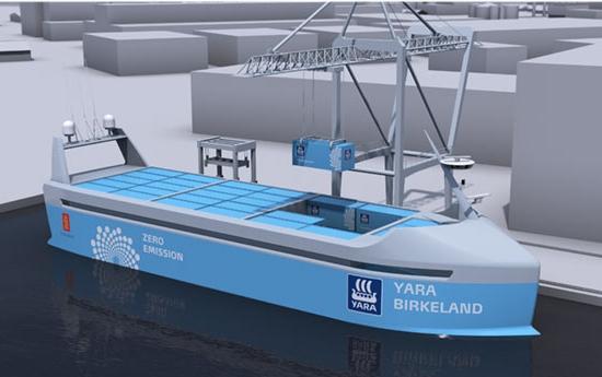Primeiro navio autônomo e elétrico estreia em 2018