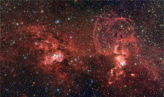 Duas regiões de formação de estrelas na Via Láctea