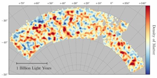 DES publica mapa da distribuição da matéria escura no Universo
