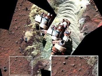 Robô atolado em Marte encontra indícios de água